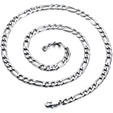Yellow Chimes Classic Figaro 316L Stainless Steel Silver Chain for Men