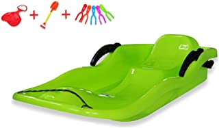 YXIUER Snow Kids Toboggan with Brakes, Winter Safe Snow Sled - 87cm Plastic Snow Slider Bobsled, Includes Snowball Clip, Self-Heating Pad, Snow Shovel