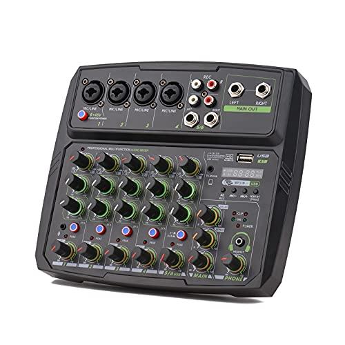 Mezclador de Audio Consola De Mezcla De 6 Canales Incorporada En La Conexión USB BT USB con + 48V Phantom Power Fácil de Operar (Color : Black, Size : One Size)