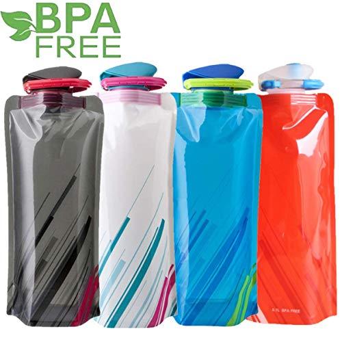 Sinwind 700ML Faltbare Wasserflaschen Set, Unisex Adult Faltbare Wasserflaschen Set von 4 Flexible zusammenklappbare Wiederverwendbare Wasser-Flaschen Trinkbeutel für das Wandern, Abenteuer(4pcs)