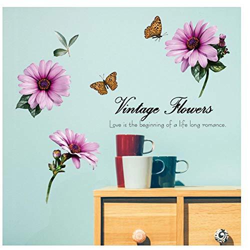 MINGKK - Adhesivo decorativo para pared, diseño de flores, dormitorio, cuarto de baño, extraíble, ecológico, muebles, puertas, azulejos, pegatinas de pared, decoración artística