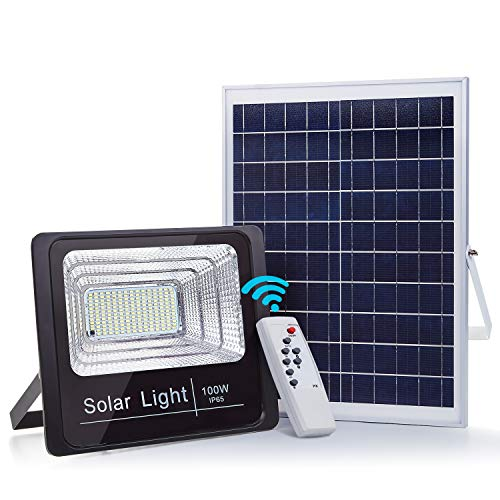 100W Solar Flood Lights Outdoor Street Led Light, 180 LEDs 5100 Lumens Waterproof IP65 with Remote Control Security Lighting for Yard, Garden, Gutter, Swimming Pool, Pathway, Basketball Court, Arena