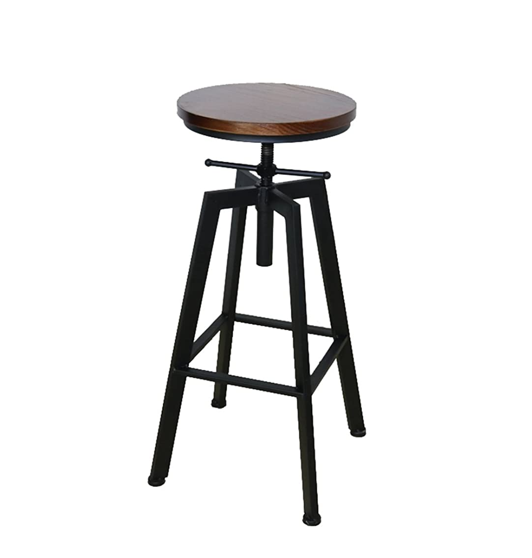 Bar chair American Iron Solid Wood Retro Industrial Rotary Lift Dining Chair Lift Height 60-80cm (Color : A)