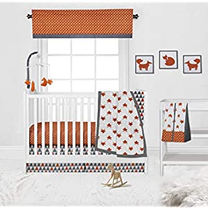 Bacati – Playful Foxs Orange/Grey 10 Pc Nursery in a bag Neutral Crib Set With 2 Crib Fitted Sheets 100 percent cotton