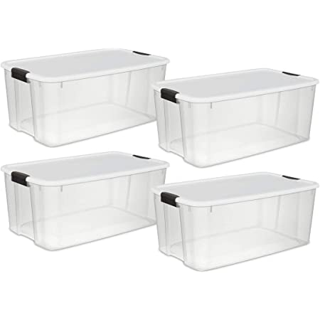 STERILITE 19909804 116 Quart//110 Liter Ultra Latch Box Clear with a White Lid and Black Latches