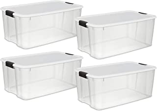 Sterilite 19909804 116 Quart/110 Liter Ultra Latch Box, Clear with a White Lid and Black Latches, 4-Pack (Renewed)