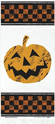 20 Sachets Cadeaux en Plastique à Damier Citrouille Halloween