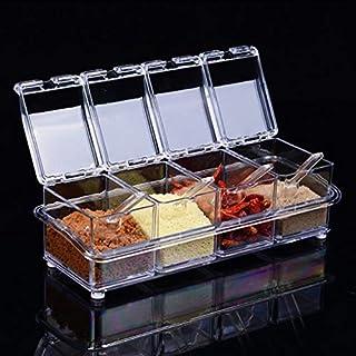 SCDZS Boîte d'assaisonnement transparente organisateur de cuisine boîtes de rangement , pot d'assaisonnement aux épices bo...