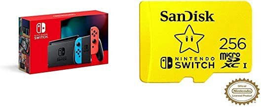 Nintendo Switch with Neon Blue and Neon Red Joy‑Con - HAC-001(-01) + SanDisk 256GB MicroSDXC UHS-I Card