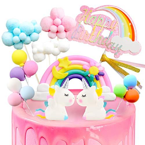 DUOUPA Tortendeko Einhorn Geburtstags Deko Kuchen Regenbogen Happy Birthday Tortenaufleger Girlande Luftballon Wolke Kuchen Topper für Kinder Mädchen Junge