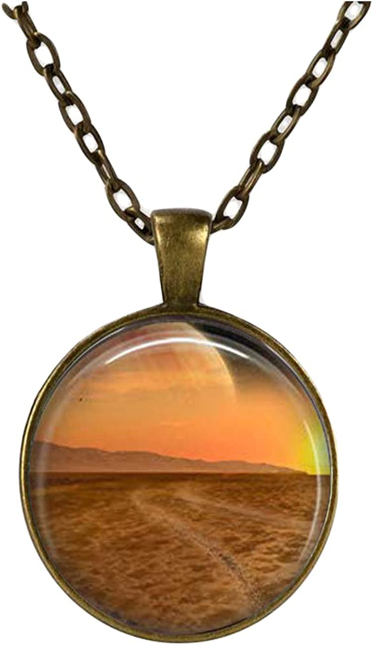 Landscape necklace ,Planet jewelry ,Earth charm Fantasy pendant,Dome glass jewelry, pure hand-made