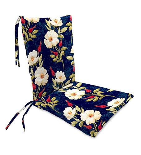 Plow & Hearth Polyester Classic Rocking Chair Cushions with Ties - Seat: 21 @ Front, 17 @ Back x 19 x 2.5 Back: 16 x 20 x 2.5 Rose Garden