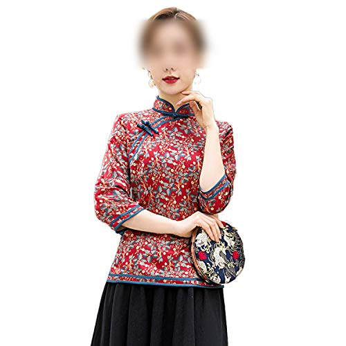 Qipao Orientalischer Stil Frauen Hemd Traditionelle Chinesische Bluse Cheongsam Lady Kleidung Kleid Mandarine Kragen Kleid Vestido M-4XL Gr. XXX-Large, rot