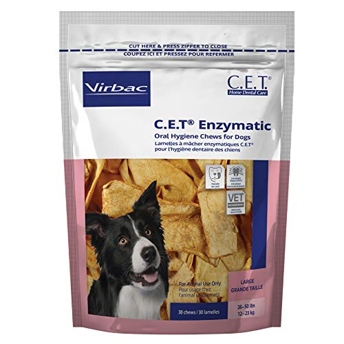 Virbac C.E.T. Enzymatic Oral Hygiene Chews Dogs Plaque Control Treat Large 30ct
