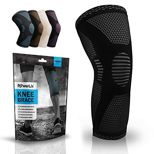 POWERLIX Knee Compression Sleeve - Best Knee Brace for Men & Women – Knee Support for Running, Basketball, Weightlifting, Gym, Workout, Sports, (Black, Large)