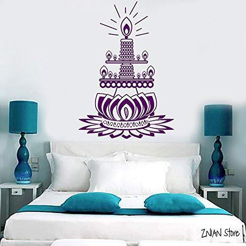 guijiumai Lotus Blume Wandtattoos Kerze Buddhistische Meditation Wandaufkleber Für Schlafzimmer Abnehmbare Kunstwand Für Wohnzimmer75X108CM
