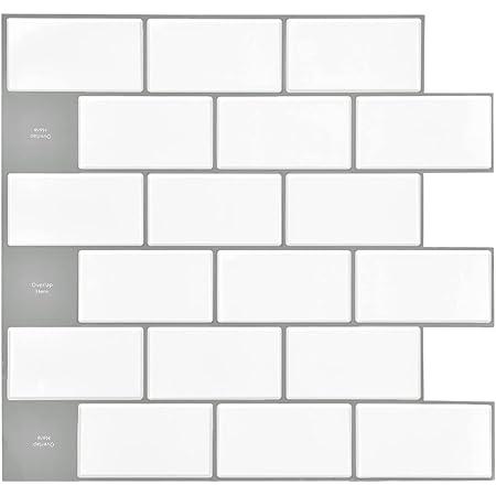 Vamos Tile,Upgraded,10-Sheet Subway Tiles Peel and Stick Backsplash,Stick on Tiles Kitchen Backsplash - Premium 3D Wall Sticker ,White Backsplash Tiles for Kitchen Bathroom Laundry