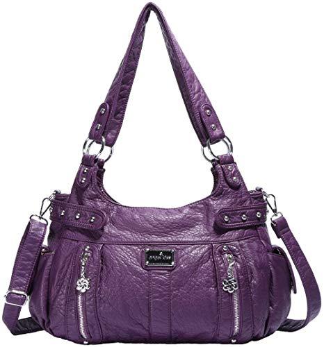 Angelkiss Borse a Mano e a Spalla Donna Pelle Morbida Borsetta Tracolla Tote Messenger Hobo Borsa Bauletto Eleganti Firmate Moda (AK19244-3-purple)