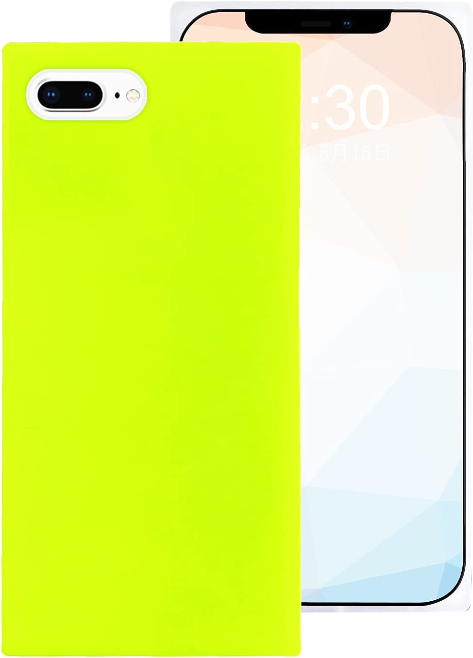 Omorro for iPhone 8 Plus/iPhone 7 Plus Square Edge Neon Phone Case, Cute Fluorescence Color Flexible Soft Slim TPU Rubber Gel Bumper Chic Square Shockproof Protective Girly Case Neon Green