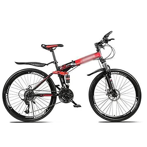 HUAQINEI Folding mountain bike for men and women, outdoor racing bike with integrated wheel