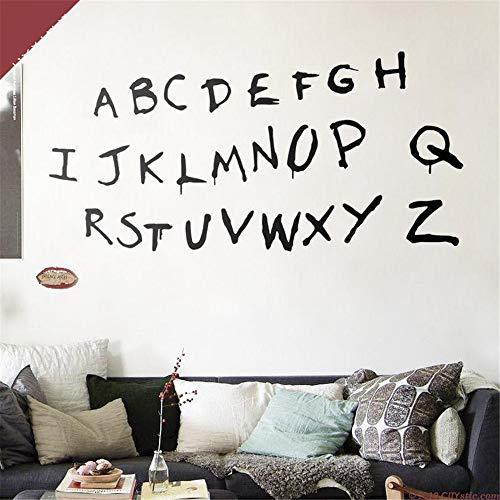Stranger Things Scary Alphabet Wandtattoo wie an der Wand. TV-Serie Alphabet Aufkleber. Wills Alphabet. Lichterketten-Alphabet