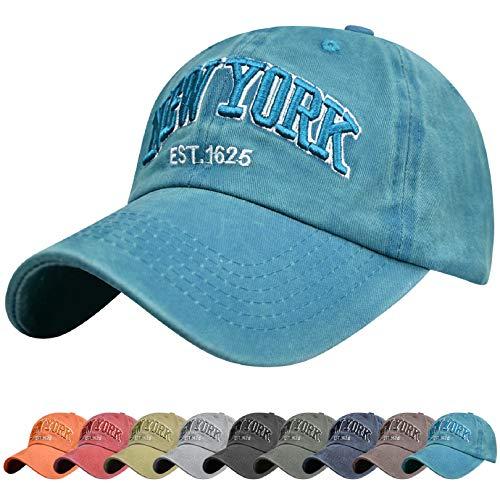 Voqeen Gorra de Beisbol Sombrero de Gorra Ajustable con Bordado New York Gorra de Vintage Algodón de Verano al Aire Libre Cap para Hombres Mujeres (Azul Claro)