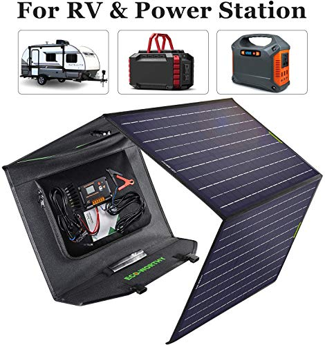ECO-WORTHY 120 Watts Foldable Solar Panel with Charge Controller DC Output Outdoor Portable Charger in Suitcase for camper RV Hiking Laptop Tablet iPhone