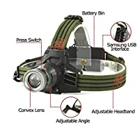 スーパーブライトズーム可能なQ5 LEDヘッドライト懐中電灯USB充電式18650 (Body Color : 緑, 発光色 : 白い)