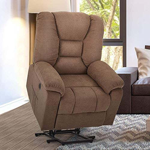 YODOLLA Electric Power Lift Chair Heated Vibration Massage Chair,Brown Faux Leather Recliner for Elder People with Side Pockets,USB Port & Massage Remote Control,Brown