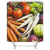 MaxAst Bad Vorhang Bunt Duschvorhang Gemüse Karotte Weiße Rettich Tomate Duschvorhang Anti Schimmel Duschvorhang Polyester Duschvorhang 90x180 cm