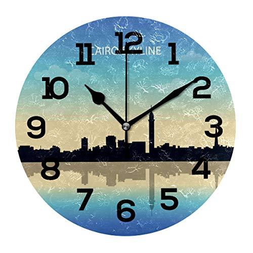 Runde Wanduhr, geräuschlos, nicht tickend, dekorative Uhren, leicht zu lesen, Cairo Skyline, Heimdekoration für Küche, Wohnzimmer, Schlafzimmer, Badezimmer, Büro