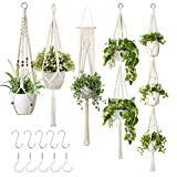 GROWNEER 5 Packs Macrame Plant Hangers with 5 Hooks, Different Tiers, Handmade Cotton Rope Hanging Planters Set Flower Pots Holder Stand, for Indoor Outdoor Boho Home Decor
