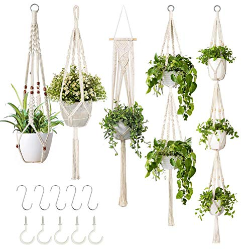 GROWNEER Handmade 5 Packs Hanging Macrame Planters