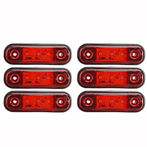 LLGHT Luces De Marcador Laterales LED 12V / 24V para Camión De Automóvil Trailer SUV Van Luces De Marcador A Prueba De Agua, 6pcs (Color : Red)