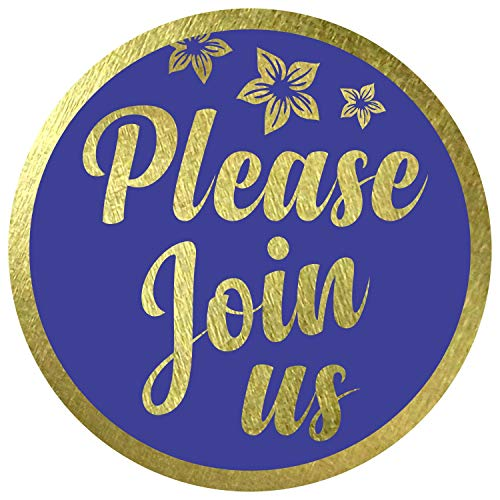 """Please Join Us Stickers Seals Labels (Pack of 120) 2"""" Large Round Gold Foil Stamping on Blue for Cards Gift Envelopes Boxes"""