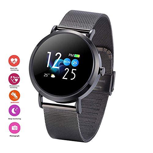 Sport-Smartwatch, für Männer und Frauen, Smartwatch mit Blutdruck- und Herzfrequenzmesser, WhatsApp, Facebook, Fitness-Tracker, schwarz