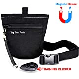 Dog Treats Training Pouch, Magnetic Closure Dog Treat Bag with Training Clicker, Doggie Puppy Snack Reward Bags Bait Pouches Dog Treat Carrier Holder with Waist Belt