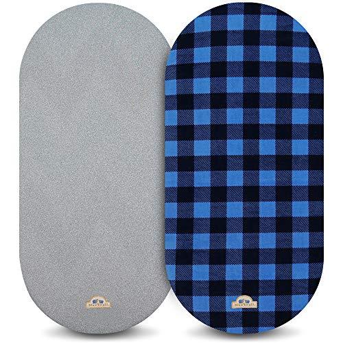 BlueSnail Bettlaken, Matratzenauflage für Babys, Mädchen und Jungen, atmungsaktiv und weich, 2 Stück Bassinet Marineblau Buffola Plaid