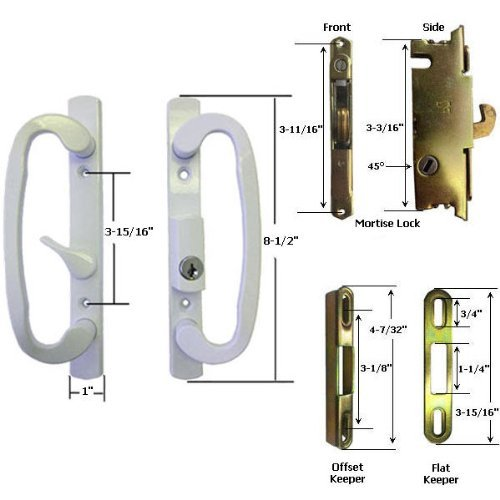 STB Sliding Glass Patio Door Handle Kit with Mortise Lock and Keeper, B-Postion, White, Keyed
