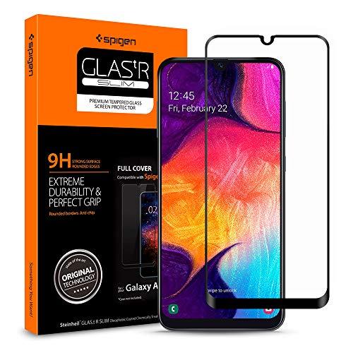 Spigen, Cristal Templado Samsung Galaxy A50   A50s   A30   A30s, AlignMaster, Cobertura Completa, Marco de Alineación Incluido, Dureza 9H, Compatible con Fundas (611GL26283)