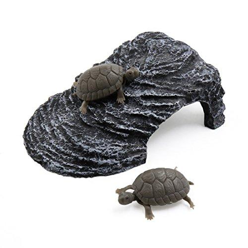 uxcell Dark Gray Resin Basking Ramp Turtle Climb Stone Habitat Ornament for Aquarium Fish Tank