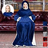Sherpa Hood Wearable Blanket for Adult Women and Men, Super Soft Comfy Warm Plush Throw with Sleeves TV Blanket Wrap Robe Hoodie Cover for Lounge Chair Couch 72' x 55' Blue Navy