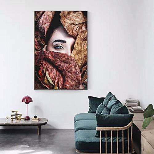 Dipinti astratti su tela Stampe d'arte da parete Foglie coprono il viso Poster Living Room Decor Dipinti decorativi Wall Home Decor-50x70cm Senza Cornice