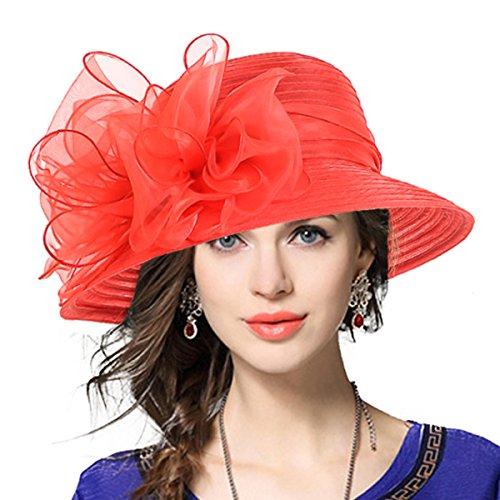 VECRY Señora Oaks Derby Iglesia Vestido Sombrero Bucket Boda Bowler Sombreros (Rojo)