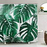 ZOEO Duschvorhang Palmenbaum für Badezimmer Grün Tropische Hawaii Stoff Duschvorhang Set Dschungelblätter Hintergr& 12 Haken Wasserdicht Polyester waschbar für altes Badezimmer 182,9 x 182,9 cm