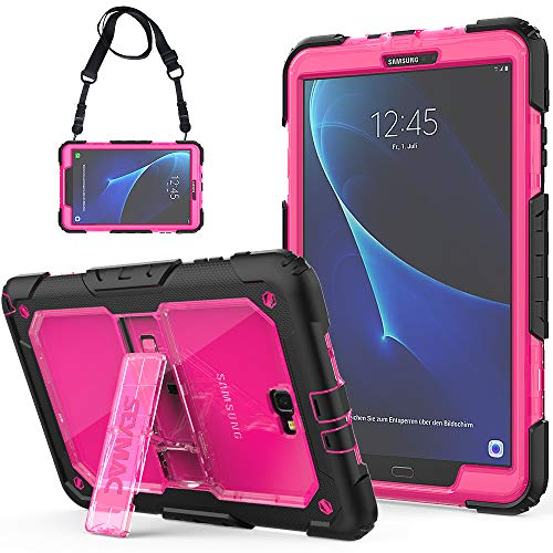 SEYMCY Galaxy Tab A 10.1 Case 2016 (SM-T580/SM-T585/SM-T587, NOT fit 2019 Model) Rugged Shockproof Drop Protection Sturdy Stand Case with Strap for Samsung Tab A6 10.1 2016/2018 Tablet [Black/Pink]