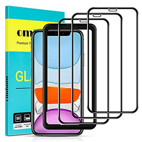 omitium 3 Unidades Protector Pantalla para iPhone 11/ iPhone XR, Cristal Templado iPhone XR Marco Instalación Fácil, 9H, Sin Burbujas, Anti-Arañazos Vidrio Templado iPhone 11