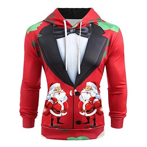 LOPILY Weihnachten Hoodies Herren 3D Optiken Weihnachtsanzug Druck Lustig Weihnachtspullover Große Größen mit Santa Claus und Rudolph Druck Hässliche Kapuzenpullover für Weihnachtsfeier