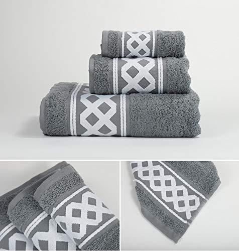 Energy Colors Textil - Hogar - Cenefa Turca - Juego de Toalla 3 Piezas 100% Algodón de 500 Gramos (Gris Plomo)