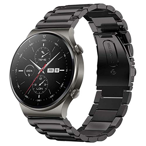 SPGUARD Correa Compatible con Correa Huawei Watch GT 2e/GT2 46mm/GT 2 Pro,22mm Pulsera de Repuesto deMetal de Acero Inoxidable para Huawei Watch GT 46mm/Huawei GT2 46mm/Huawei GT 2e/GT2 Pro(Negro)